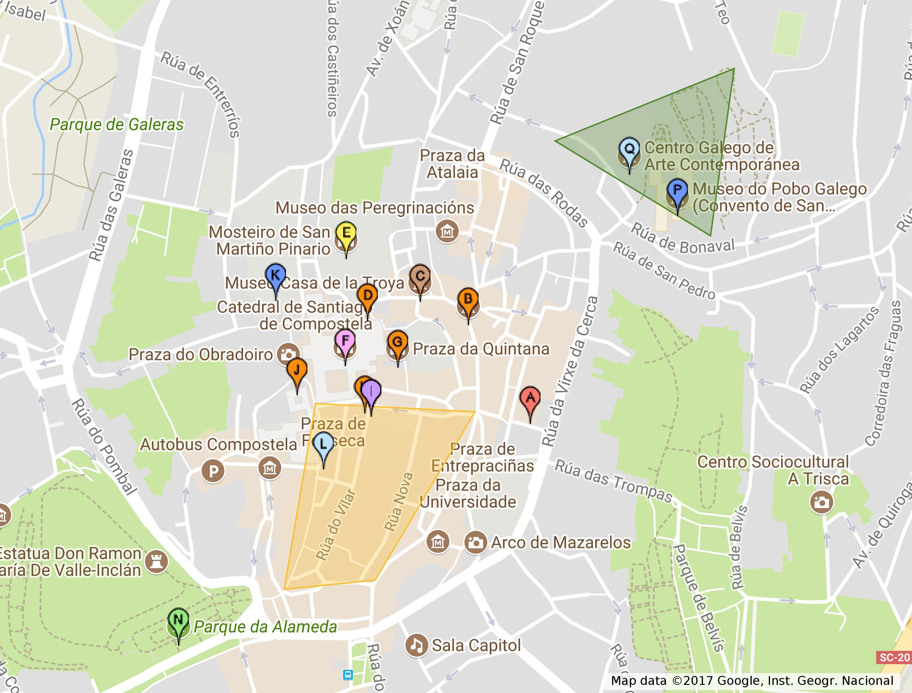 Interactive tour map of Santiago de Compostela Cruise Galicia